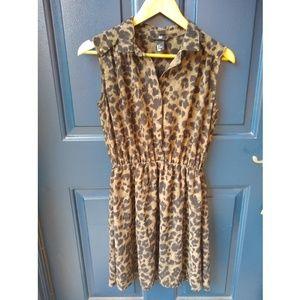 H&M | animal print button down sleeveless dress